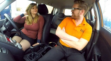 Fakedrivingschool - 34F Boobs Bouncing in driving lesson by Madison Stuart 380x210